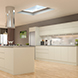Handleless Kitchen Door in Modern Ivory - room